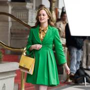 Actress Leighton Meester is shown on the set of