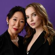 Sandra Oh, left, and Jodie Comer, cast members in the BBC America series