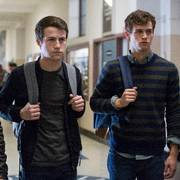 This image released by Netflix shows, from left, Christian Navarro, Dylan Minnette and Brandon Flynn in