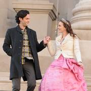 Actors Leighton Meester, right, and Penn Badgley are shown on the set of