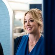 This image released by HBO Max shows Griffin Matthews, left, and Kaley Cuoco in a scene from the series