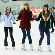 This image released by Hulu shows Alison Brie, Mackenzie Davis, and Mary Holland in a scene from