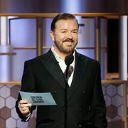 This image released by NBC shows host Ricky Gervais at the 77th Annual Golden Globe Awards at the Beverly Hilton Hotel in Beverly Hills, Calif., on Sunday, Jan. 5, 2020. (Paul Drinkwater/NBC via AP)                       (Foto: Paul Drinkwater)