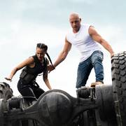 This image released by Universal Pictures shows Nathalie Emmanuel, left, and Vin Diesel in a scene from